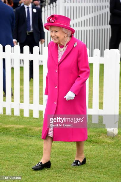Queen Elizabeth II attends the OUTSOURCING Inc. Royal Windsor Cup Final on June 23, 2019 in Windsor, England.