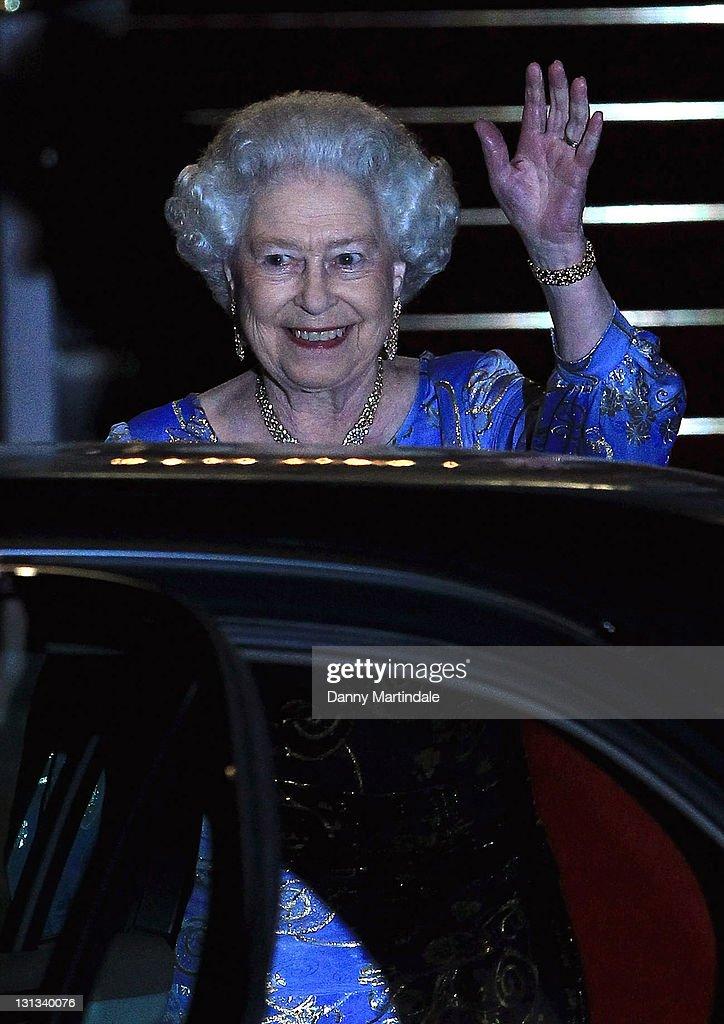 Queen Elizabeth II attends the pre-Royal Wedding dinner at Mandarin Oriental Hyde Park on April 28, 2011 in London, England.