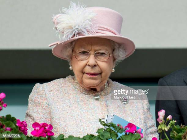 Queen Elizabeth II attends The Qipco British Champions Day at Ascot Racecourse on October 21 2017 in Ascot England