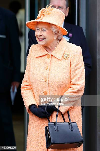 Queen Elizabeth II attends the QIPCO British Champions Day racing meet at Ascot Racecourse on October 17 2015 in Ascot England