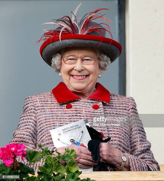 Queen Elizabeth II attends the QIPCO British Champions Day racing meet at Ascot Racecourse on October 15 2016 in Ascot England