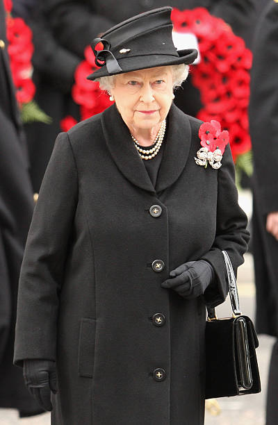 Queen Elizabeth II attends the Remembrance Sunday Service at the Cenotaph on November 9 2008 in London England This year is the 90th Anniversary of...