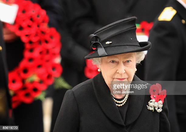 Queen Elizabeth II attends the Remembrance Sunday Service at the Cenotaph on November 9, 2008 in London, England. This year is the 90th Anniversary...