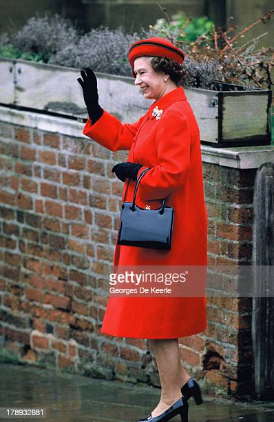 Queen Elizabeth II attends the Royal Christmas Service at St George's Chapel on December 25, 1984 in Windsor, England.