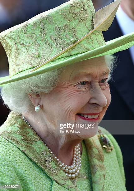 Queen Elizabeth II attends The Royal Marines 350th Anniversary Beating Retreat at The Royal Horseguards on June 4 2014 in London England