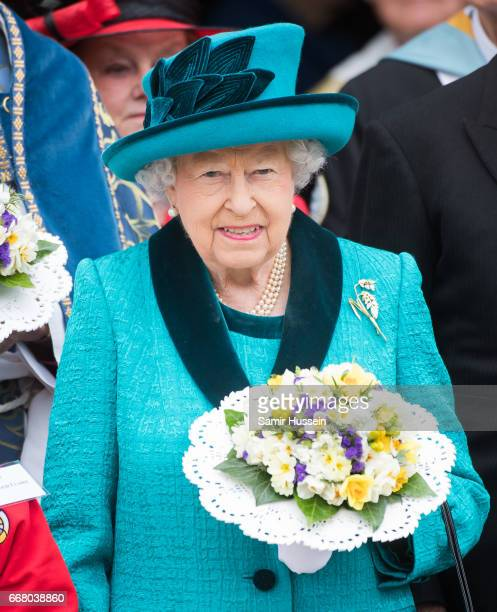 Queen Elizabeth II attends the Royal Maundy service at Leicester Cathedral on April 13 2017 in Leicester England The Queen Duke of Edinburgh...