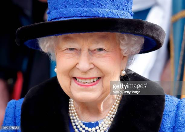 Queen Elizabeth II attends the Royal Maundy Service at St George's Chapel on March 29 2018 in Windsor England During the service The Queen...