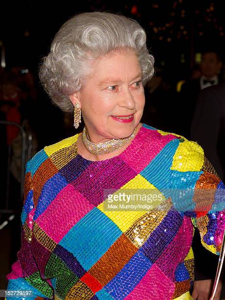 Queen Elizabeth II attends the Royal Variety Performance at the Birmingham Hippodrome on November 29, 1999 in Birmingham, England.