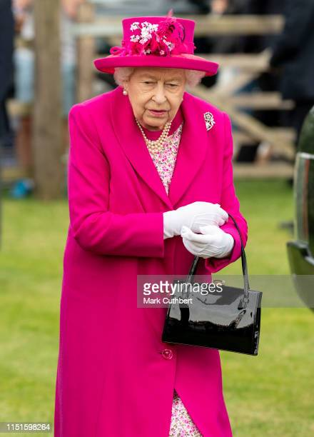 Queen Elizabeth II attends The Royal Windsor Cup Final at Guards Polo Club on June 23 2019 in Egham England