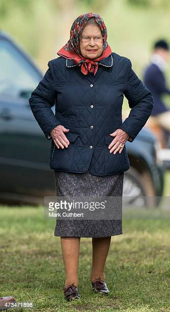 Queen Elizabeth II attends the Royal Windsor Horse show in the private grounds of Windsor Castle on May 15 2015 in Windsor England