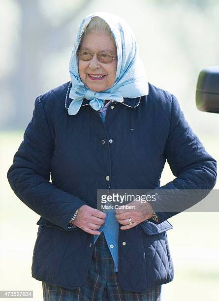 Queen Elizabeth II attends the Royal Windsor Horse show in the private grounds of Windsor Castle on May 16, 2015 in Windsor, England.