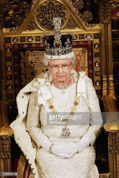 Queen Elizabeth II attends the State Opening of Parliament held in the House of Lords on November 15 2006 in London England