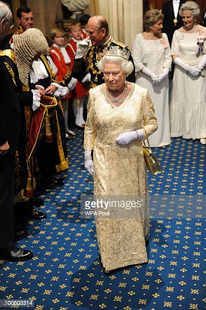 Queen Elizabeth II attends the State Opening of Parliament in the Palace of Westminster before the State Opening of Parliament on May 25 2010 in...