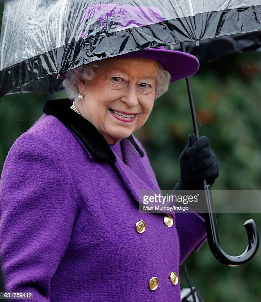 Queen Elizabeth II attends the Sunday service at the church of St Mary the Virgin in Flitcham on January 15, 2017 near King's Lynn, England.