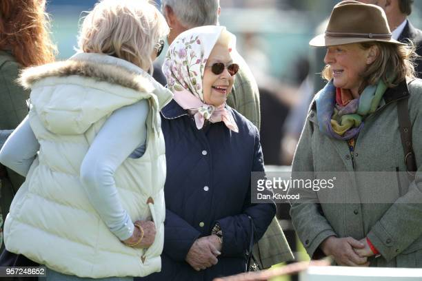Queen Elizabeth II attends the third day of the Royal Windsor Horse Show on May 11 2018 in Windsor England The Royal Windsor Horse Show is hosted in...