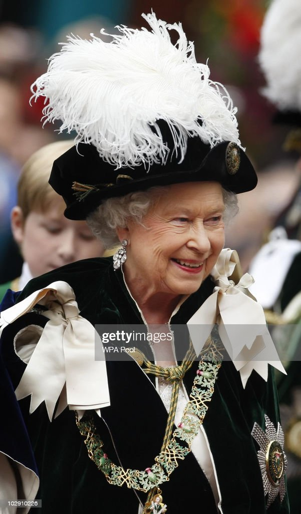 Queen Elizabeth II Attends The Thistle Service At St Giles' Cathedral : News Photo
