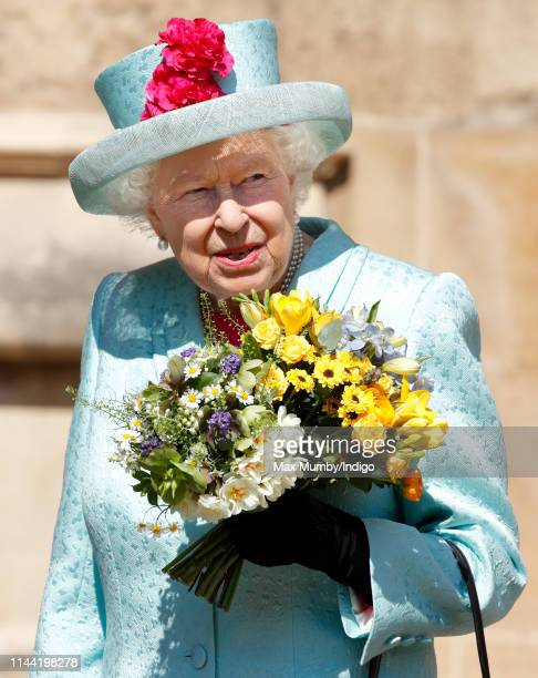 Queen Elizabeth II attends the traditional Easter Sunday church service at St George's Chapel Windsor Castle on April 21 2019 in Windsor England...