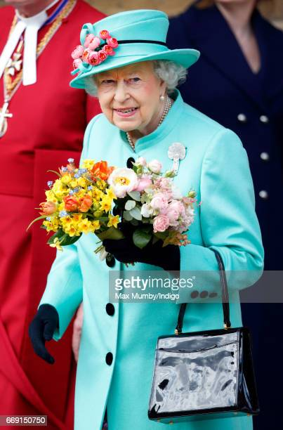 Queen Elizabeth II attends the traditional Easter Sunday church service at St George's Chapel Windsor Castle on April 16 2017 in Windsor England
