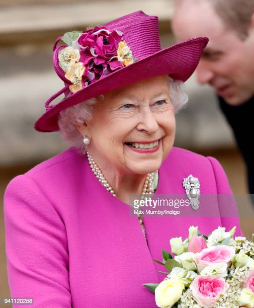 Queen Elizabeth II attends the traditional Easter Sunday church service at St George's Chapel Windsor Castle on April 1 2018 in Windsor England
