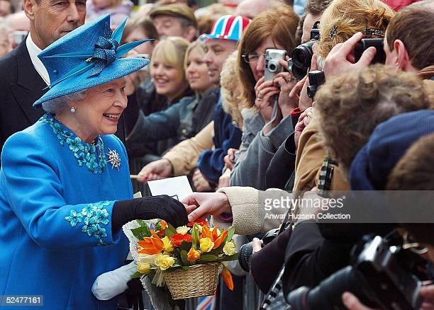 Queen Elizabeth II attends the traditional Maundy Service in Wakefield on March 24 2005 in Yorkshire England