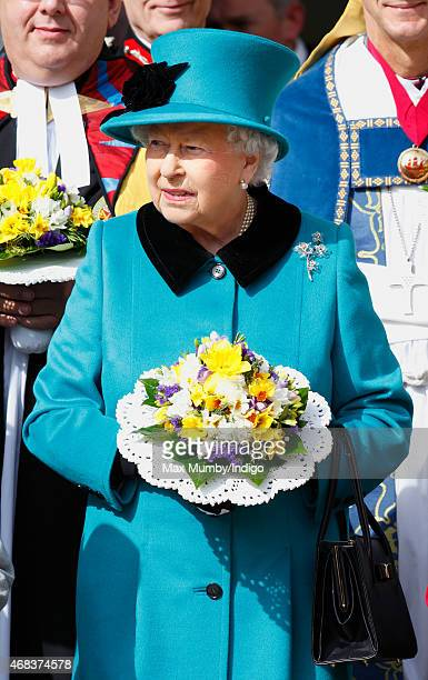 Queen Elizabeth II attends the traditional Royal Maundy Service at Sheffield Cathedral on April 2 2015 in Sheffield England