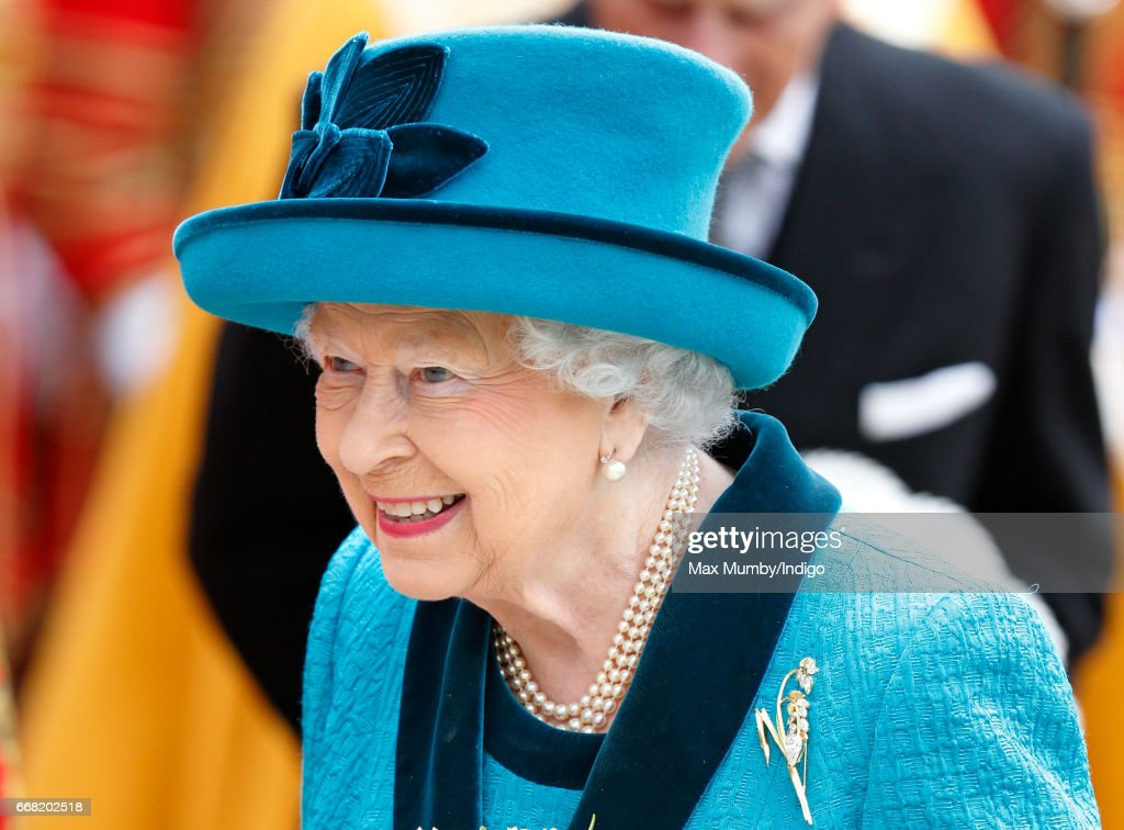 Queen Elizabeth II attends the traditional Royal Maundy service at Leicester Cathedral on April 13, 2017 in Leicester, England. During the service The Queen distributed ceremonial Maundy Money to 91 men and 91 women from the local community.