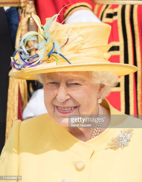 Queen Elizabeth II attends the traditional Royal Maundy Service at St George's Chapel on April 18 2019 in Windsor England