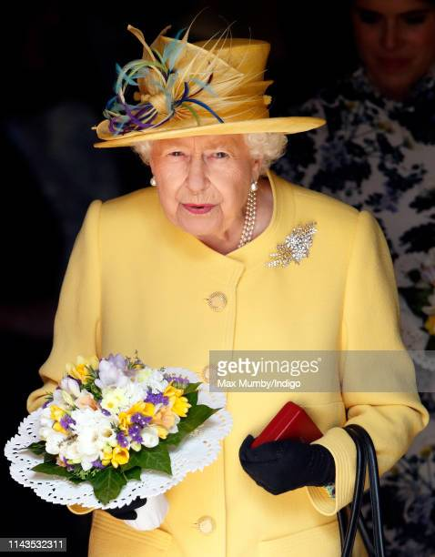 Queen Elizabeth II attends the traditional Royal Maundy Service at St George's Chapel on April 18 2019 in Windsor England During the service The...