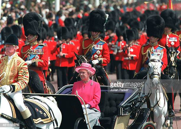 Queen Elizabeth II attends the Trooping The Colour Ceremony on June 17 2000 in London England