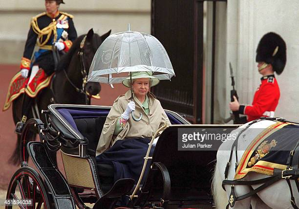 Queen Elizabeth II attends the Trooping The Colour Ceremony on June 16 2001 in London England