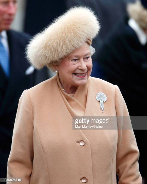 Queen Elizabeth II attends the unveiling of a new statue of Queen Elizabeth, The Queen Mother on February 24, 2009 in London, England. The new...
