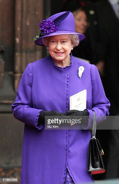 Queen Elizabeth II attends the wedding of Ed Van Cutsem and Lady Tamara Grosvenor at Chester Cathedral on November 6 2004 in Chester England Lady...