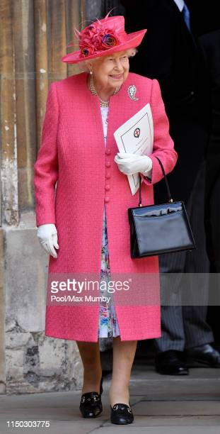 Queen Elizabeth II attends the wedding of Lady Gabriella Windsor and Thomas Kingston at St George's Chapel on May 18, 2019 in Windsor, England.