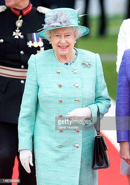 Queen Elizabeth II attends Vernon Park during a Diamond Jubilee visit to Nottingham on June 13 2012 in Nottingham England