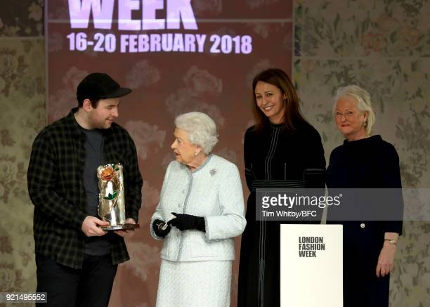 Queen Elizabeth II awards designer Richard Quinn the inaugural Queen Elizabeth II award for British Design alongside Chief Executive of the British...