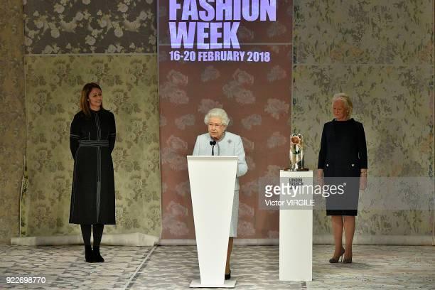 Queen Elizabeth II awards designer Richard Quinn the inaugural Queen Elizabeth II award for British Design during London Fashion Week February 2018...