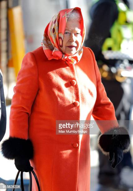 Queen Elizabeth II boards a train at King's Lynn Station to return to London after her Christmas break at Sandringham House on February 7 2018 in...