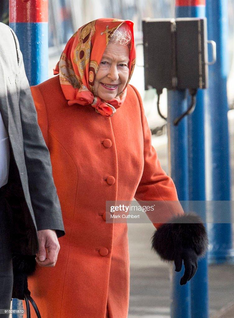 Queen Elizabeth II Leaves King's Lynn Station