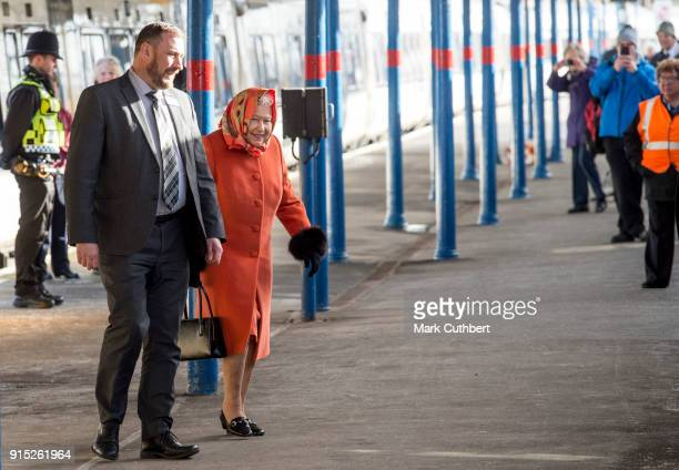 Queen Elizabeth II boards her train back to London after the Christmas break at Sandringham on February 7 2018 in King's Lynn England