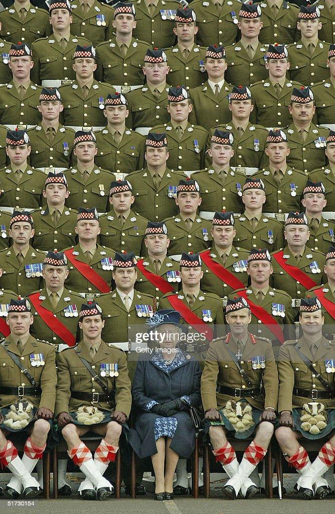 Queen Elizabeth Visits Highland Battalion : News Photo