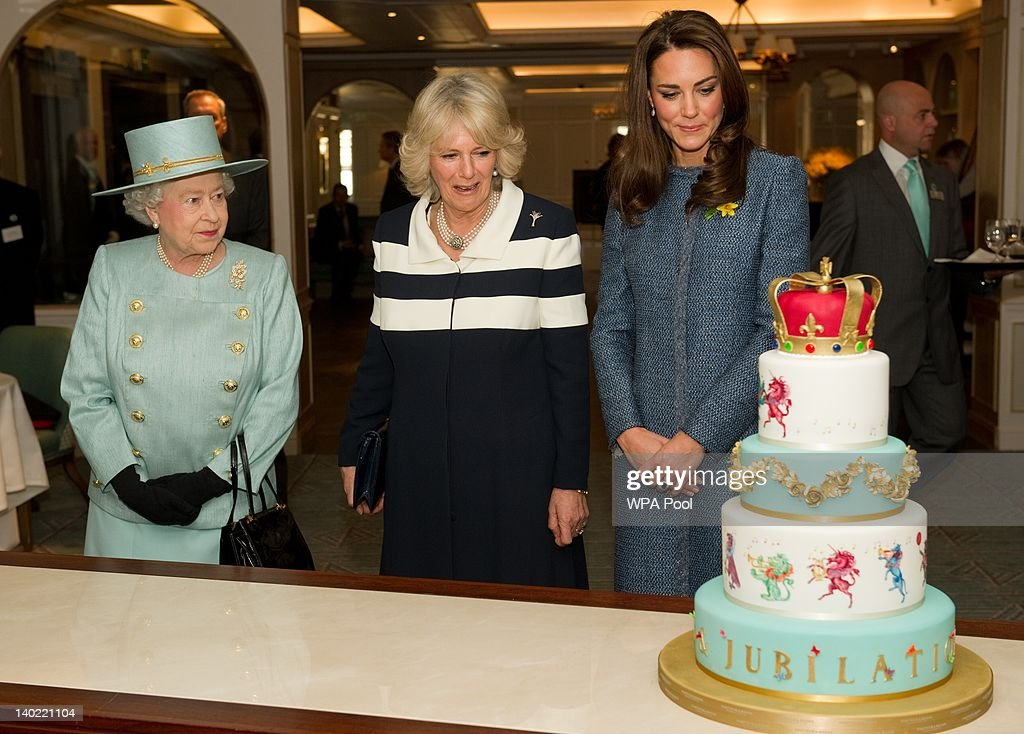 Queen Elizabeth II, Camilla, Duchess Of Cornwall And Catherine, Duchess Of Cambridge Visit Fortnum & Mason Store : News Photo