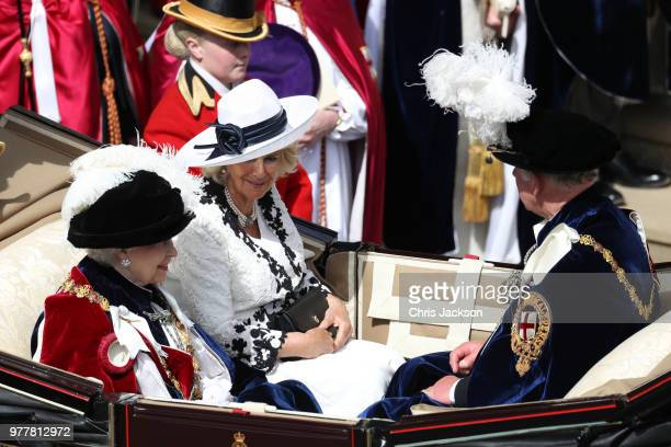 Queen Elizabeth II Camilla Duchess of Cornwall and Prince Charles Prince of Wales leave by carriage during the Order Of The Garter Service at Windsor...