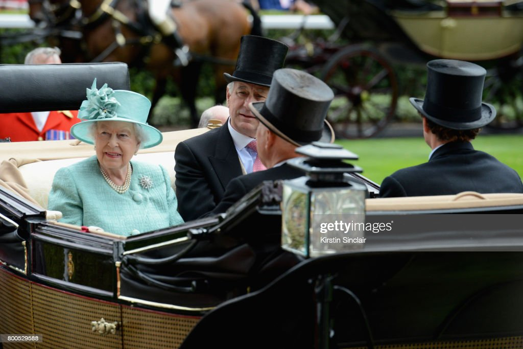 Queen Elizabeth II, Captain David Bowes-Lyon, Mr Erik Penser and Mr Thomas van Straubenzee arrive in the Royal Procession on day 4 of Royal Ascot at Ascot Racecourse on June 23, 2017 in Ascot, England.