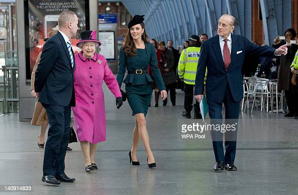 Queen Elizabeth II Catherine Duchess of Cambridge and Prince Philip Duke of Edinburgh arrive at St Pancras station before boarding a train to visit...