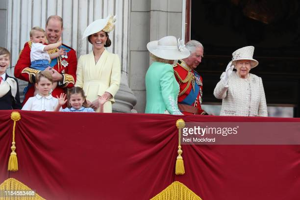 Queen Elizabeth II Catherine Duchess of Cambridge and Prince William Duke of Cambridge on the balcony of Buckingham Palace during Trooping The Colour...