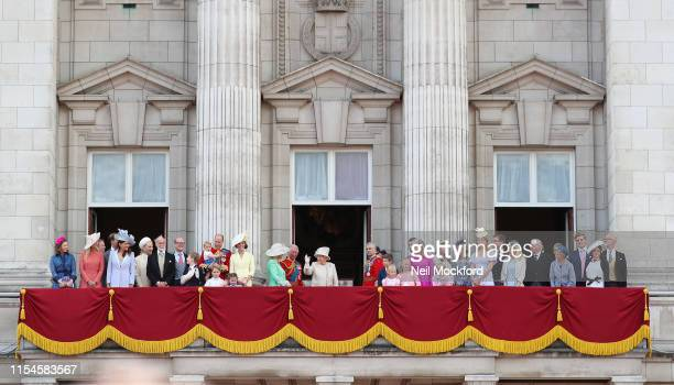 Queen Elizabeth II, Catherine, Duchess of Cambridge and Prince William, Duke of Cambridge, Meghan, Duchess of Sussex, Prince Harry, Duke of Sussex on...
