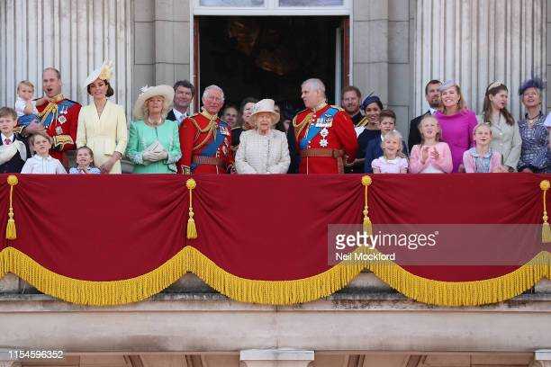 Queen Elizabeth II, Catherine, Duchess of Cambridge and Prince William, Duke of Cambridge, Meghan, Duchess of Sussex, Prince Harry, Duke of Sussex on...