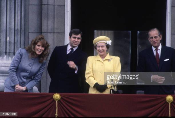 Queen Elizabeth II celebrates her sixieth birthday on April 21, 1986 at Buckingham Palace in London. The Queen was joined on the balcony of the...