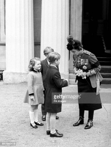 Queen Elizabeth II chats to royal children at Buckingham Palace after the Trooping the Colour The children are Prince Edward Marina Ogilvy daughter...