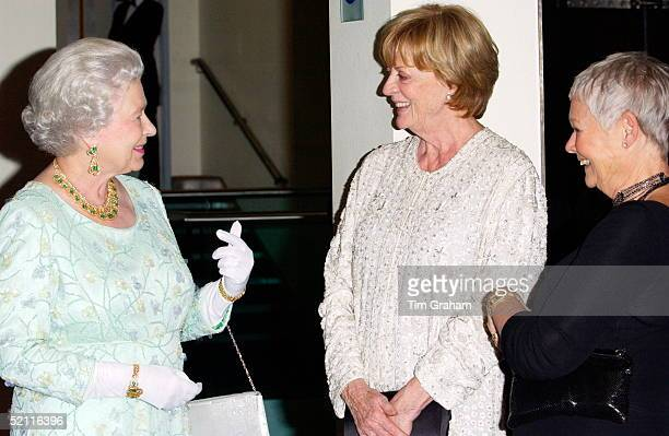 Queen Elizabeth II Chatting With Actresses She Had In The Past Conferred With Damehood Dame Judi Dench And Dame Maggie Smith At The Royal Film...